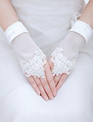 Luva Luvas de Noiva/Luvas de Festa Até o Pulso Sem Dedos Tule