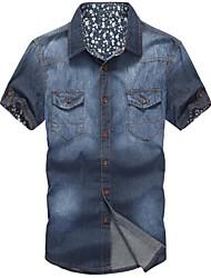Männer Casual Denim Wash reiner Baumwolle Shirts mit kurzen Ärmeln
