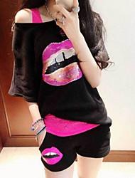 LEY de mujeres de Corea del Fashion Sports Suit (Negro)