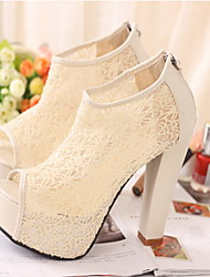 Women's Spring / Summer / Fall Fashion Boots Lace Dress / Party & Evening Chunky Heel Stitching Lace