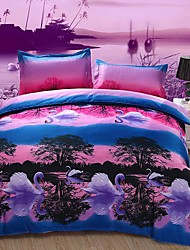 YAMANNI  Large Version 3D Dispersion Swan Lake Printing Bedding Set