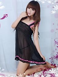 Hot Transparente Suit Princesa Estilo Sexy Mulheres Chiffon Lingeries Pijamas com Popular Folds Preto