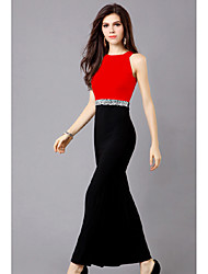 Color del vestido de las mujeres Huimei Europeo Delgado Contraste (rojo)