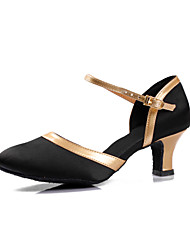 Women's Satin Upper Chuncky Heel Modern Dance Shoes