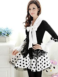 Women's Casual/Daily Vintage Spring Blouse,Solid Bow Long Sleeve White / Black Polyester / Spandex Opaque / Medium
