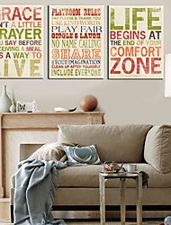 Stretched Canvas Art Words & Quotes Set of 3