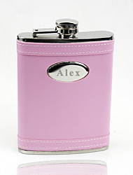 Gift Groomsman /Bridesmaid Personalized Pink 8-oz Flask