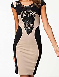 Yiya Women's Round Neck Sexy Bandage Dress