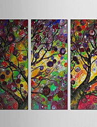 Hand Painted Oil Painting Landscape Trees with Stretched Frame Set of 3