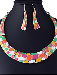 Golden Alloy (Necklaces&Earrings&) Gemstone Jewelry Sets(Multicolour,Black-White)