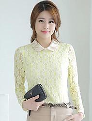 Das MYZX Mulheres Long Sleeve Chiffon Boneca Collar camisa amarela YA14088