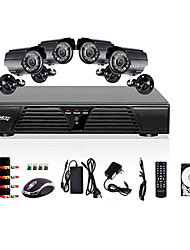 Liview® 8CH Full D1 DVR and 4pcs Outdoor 600TVLine Day/Night cameras 1TB Hard Drive