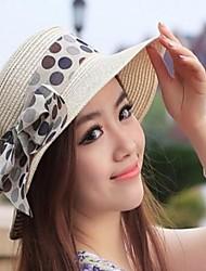 Г-жа Бежевый Новая волна Точка бантом Пароход Лето Соломенная шляпка пляж Hat Sun Hat