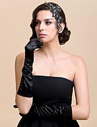 Simple Design Satin Fingertips Elbow Length Wedding/Evening Gloves