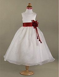A-line Princess Floor-length Flower Girl Dress - Organza Satin Scoop with Flower(s) Ruffles Sash / Ribbon