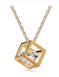 Mengguang Women'sKorean Diamond Collar del cuadrado del patrón del corazón