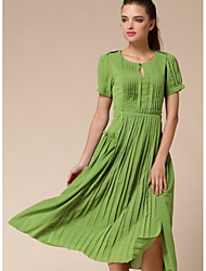 Women's Casual Solid Swing Dress , Round Neck Knee-length Polyester