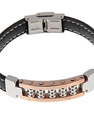 la moda de cuero de la PU de acero inoxidable pulsera broche negro de los hombres