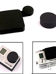 G-407-Black PANNOVO professionnel de protection en silicone Lens Cap Set pour GoPro Hero 3 + / Hero3 plus