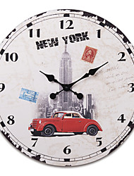 """23""""H Old New York Style Wood Wall Clock"""