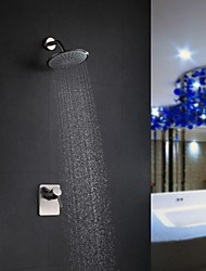 Contemporary Shower Only Rain Shower with  Ceramic Valve Single Handle Two Holes for  Nickel Brushed , Shower Faucet
