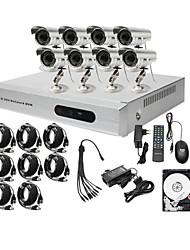 kit bajo 8ch precio cctv dvr ultra alta (h. 264, 8 al aire libre cámaras de color a prueba de agua) disco duro de 1TB