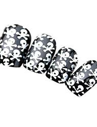 Skull Heads Style Nail Art Tips With Glue (24pcs)