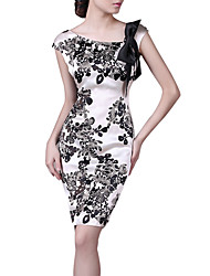 LIFVER Women's Fitted Floral Print Silk Dress