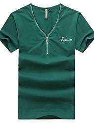 Herren T-shirt-Einfarbig Freizeit Baumwolle Kurz-Blau / Grün / Rot / Weiß