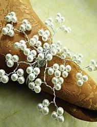 Cinq Pétales de fleur de perle Rond de Serviette en plusieurs couleurs, Pearl, Dia4.5CM, ensemble de 12