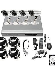 kit bassa 4ch prezzo cctv dvr ultra (H.264 4 telecamere a colori impermeabili esterne) hard disk da 500GB