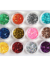 12-Color Plastic Twinkle Nail Art Decorative Mini Wafers