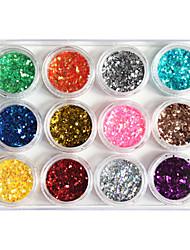 12-Cor de plástico Twinkle Nail Art decorativos bolachas Mini