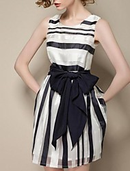 Women's Slim Chiffon Stripe Joint Sleeveless Dress