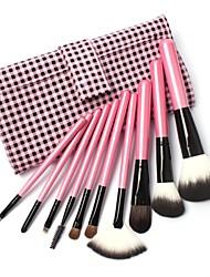 10 PC de maquillage Kit de chèvre brosses à cheveux en rose Lattice sac en cuir
