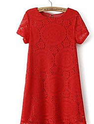 Women's Short Sleeves Round Neck Lace Kaleidoscope Mini Dress