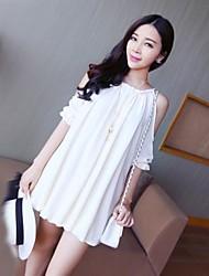 Women's Black/Pink/White Dress , Casual Short Sleeve