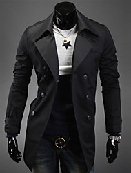 Men's Long Sleeve Trench coat , Cotton Blend Pure