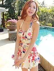Slim Mulher Flower Piece Swimsuit