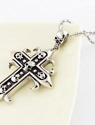 Mode Vintage Hommes collier pendentif croix Crâne Multiple Acier Titane
