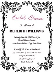 Personalized Black Flower Pattern Bridal Shower Cards - Set of 12