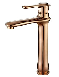 Vessel Single Handle One Hole in Rose Gold Bathroom Sink Faucet