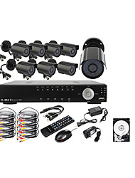 8CH D1 Real Time H.264 600TVL High Definition CCTV DVR Kit (8pcs Waterproof Day Night CMOS Cameras)500GB Hard Drive