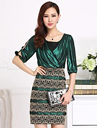 Women's Sexy / Bodycon / Casual / Lace / Party / Work Dress Above Knee Polyester / Lace