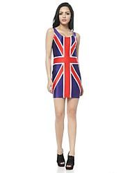 Femme O cou Union Jack Bleu Imprimé Mini robe de gilet de réservoir