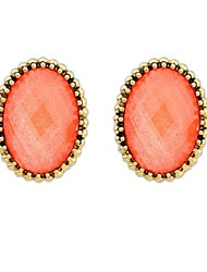 Women's European and America Fashion Oval Alloy Resin Beaded Stud Earrings (More Colors) (1 Pair)