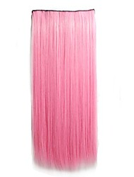 Light Pink Clip in Hari Extensions Long Straight Hairpieces