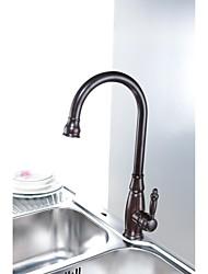 Brass rotatif monté traditionnelle huilé Bronze Terminer Un trou mitigeur Pont robinet de cuisine