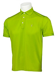 TTYGJ Men's Breathable Short Sleeve Candy Green Polo Shirt