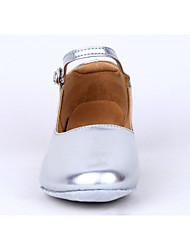 Sapatos Mostrar da menina Tamanho Grande de salto baixo de couro Arch Strap Chunky salto dança social sapatos de salto 3cm (prateado)